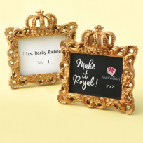 Gold Make It Royal Baroque Crown Place Card Frame